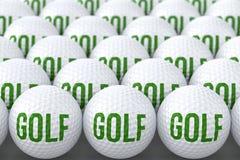 Boules de golf avec le golf des textes Images libres de droits