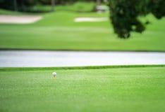 Boules de golf blanches avec l'orange de pièce en t sur l'herbe verte photo stock