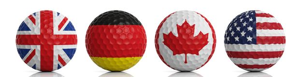 boules de golf du rendu 3d sur le fond blanc illustration stock