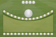 4 boules de golf de vert de fairway de golf de boule ouvrent la région des textes Photo libre de droits