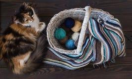 Boules de laine tricotées d'écharpe et de fil dans un panier en osier sur un bois Photos libres de droits