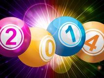 boules 2014 de loterie de bingo-test sur le starburst illustration de vecteur