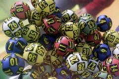 Boules de loterie pendant l'extraction Images libres de droits