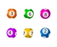 Boules de loterie de vecteur réglées, boules colorées de fond illustration de vecteur