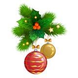 Boules de Noël avec des branches de sapin et des baies de houx Vecteur illustration libre de droits