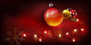 Boules de Noël avec des rayures de Joyeux Noël des textes et de lumière d'ampoule sur le fond de rouge d'ornements de Noël illustration de vecteur
