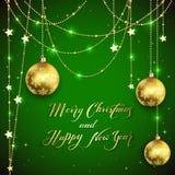 Boules de Noël avec des salutations d'or de décoration et de vacances dessus illustration de vecteur