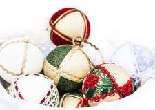 Boules de Noël avec des textures Photos stock