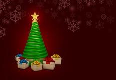 Boules de Noël avec le fond rouge Photographie stock libre de droits