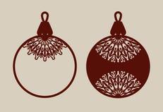 Boules de Noël avec le modèle de dentelle Images stock