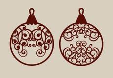 Boules de Noël avec le modèle de dentelle Images libres de droits