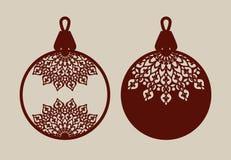 Boules de Noël avec le modèle de dentelle Image libre de droits