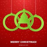 Boules de Noël coupées du papier. Photographie stock libre de droits