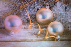Boules de Noël et branche argentées de pin Joyeux Noël et bonne année photo libre de droits