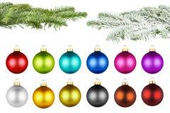Boules de Noël et ensemble de branche de sapin Photos stock