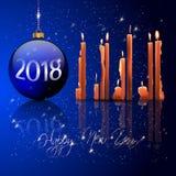 Boules de Noël et lumière de bougie photo stock