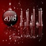 Boules de Noël et lumière de bougie Photographie stock