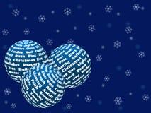 Boules de Noël faites de mots Images libres de droits