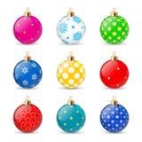 Boules de Noël réglées d'isolement sur le fond blanc Jouet de Noël de vacances pour l'arbre de sapin Illustration de vecteur illustration libre de droits