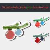 Boules de Noël sur la branche de l'arbre Photo libre de droits