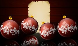 Boules de Noël sur le fond du parchemin et des conseils illustration de vecteur