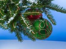 Boules de Noël sur une branche Photos libres de droits