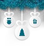 Boules de papier de Noël avec des éléments de conception de décoration illustration de vecteur