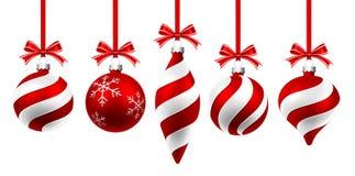 Boules de rouge de Noël Photos stock