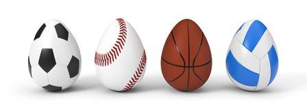 Boules de sport de Diffferent comme oeuf de pâques concept de Pâques avec le thème de sport illustration 3D Photos libres de droits