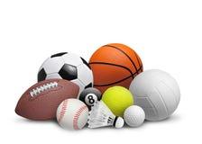 Boules de sport sur le blanc Photographie stock
