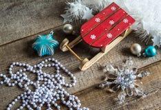 Boules de traîneau Santa Claus et de Noël Photos stock