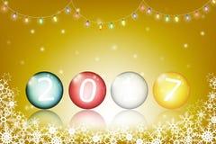 Boules en verre colorées avec 2017 nouvelles années Photographie stock