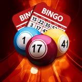 Boules et cartes de bingo-test sur le fond abstrait rougeoyant illustration stock