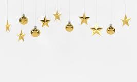 Boules et ornements d'or accrochants d'étoiles sur le fond blanc Pour la nouvelle année ou le thème de Noël rendu 3d Photo libre de droits