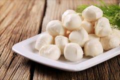 Boules fraîches de fromage de mozzarella photographie stock