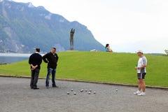 Boules i Montreux, Schweiz Arkivfoton
