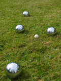 Boules on the lawn Stock Photo