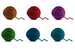 Boules multicolores de laine Image libre de droits