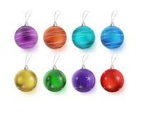 Boules multicolores de Noël d'illustration avec des arcs sur le fond blanc - Photographie stock libre de droits