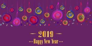 Boules multicolores de nouvelle année, confettis sur le fond violet lumineux illustration stock