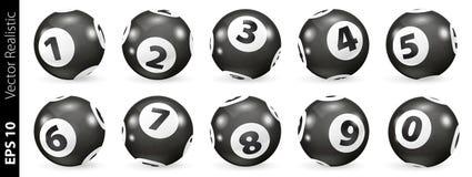 Boules noires et blanches de nombre de loterie illustration libre de droits