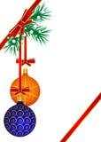 Boules oranges et bleues accrochant sur l'arbre de Noël illustration stock