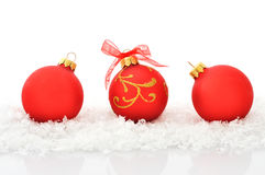Boules rouges de Noël Photographie stock libre de droits