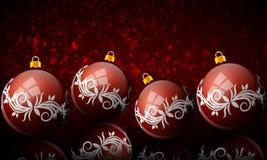 Boules rouges de nouvelle année sur le fond rouge de bokeh illustration libre de droits