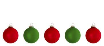 Boules rouges et vertes d'arbre de Noël Photos stock