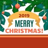 Boules, rubans et branches de Noël de l'arbre de Noël sur le fond blanc et rouge Images stock