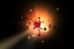 Boules se reflétantes dans la lumière orange visible lumineuse Photographie stock