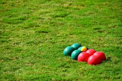 Boules set on grass stock image