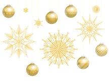 Boules Straw Stars Decoration d'or de Noël illustration stock