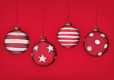Boules tirées par la main d'arbre de Noël Image libre de droits